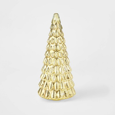 Shop LIT Medium Mercury Glass Christmas Tree Decorative Figurine Gold from Target on Openhaus