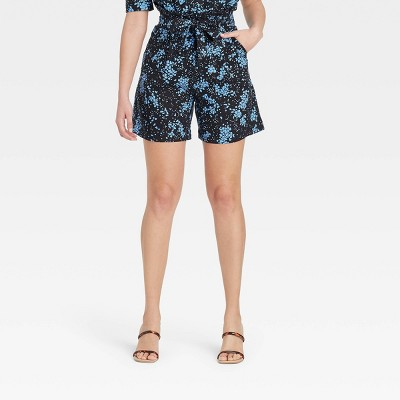 Women's Floral Print High-Rise Shorts - Who What Wear™ Black