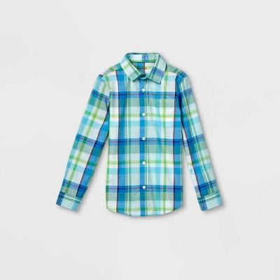 Boys' Woven Long Sleeve Button-Down Shirt - Cat & Jack™ Light Blue/Green