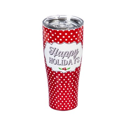 Evergreen Cypress Home Double Wall  Stainless Steel Cup 17oz. Happy Holidays with Dots