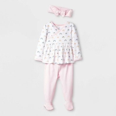 Baby Girls' 3pc Unicorn Take Me Home Layette set - Cloud Island™ Pink Newborn