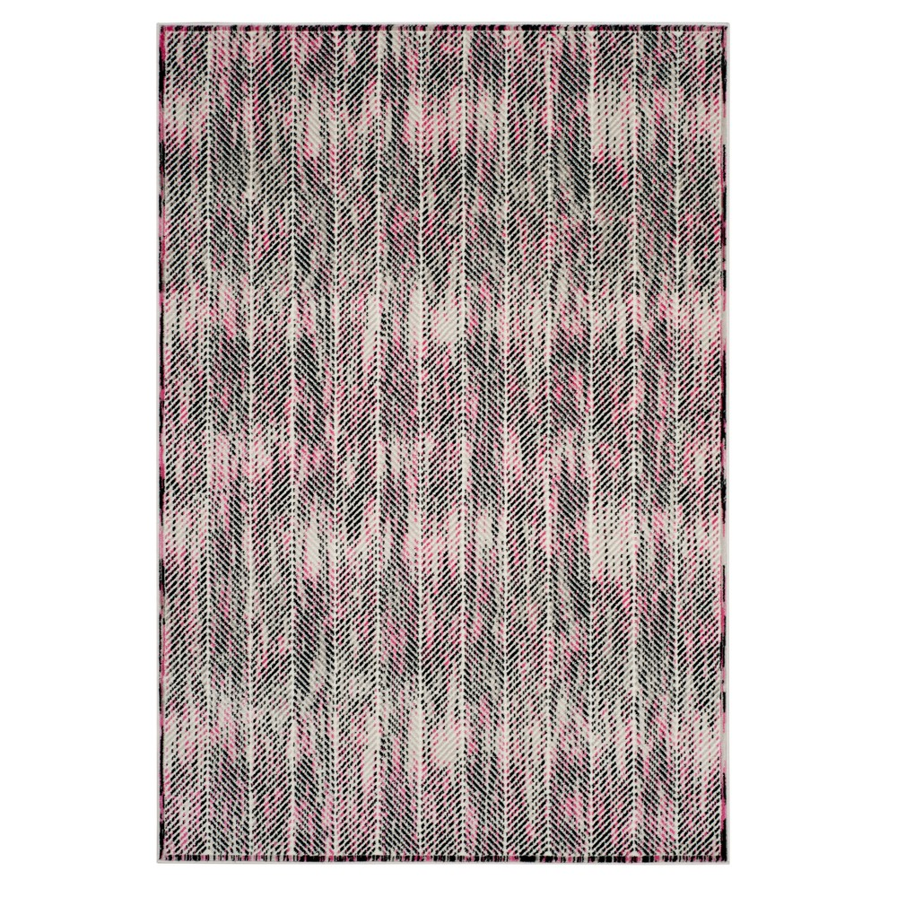 Gray/Pink Herringbone Loomed Area Rug 5'1