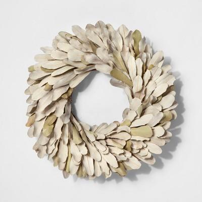 """11"""" Dried Integrifolia Leaf Wreath Green - Smith & Hawken™"""