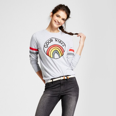 Women's Good Vibes Graphic Pullover Sweatshirt - Mighty Fine (Juniors') Gray - image 1 of 2