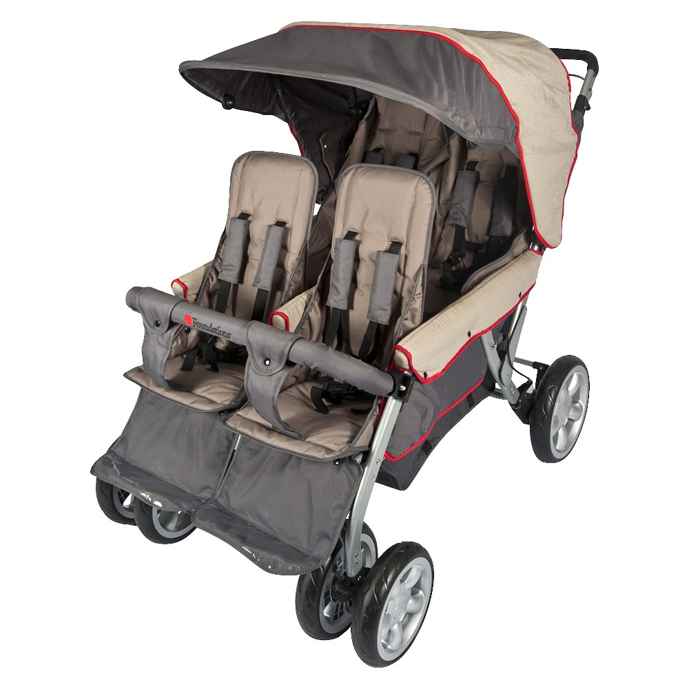 Image of Foundations Quad LX4 Commercial 4 Passenger Stroller Red, Green