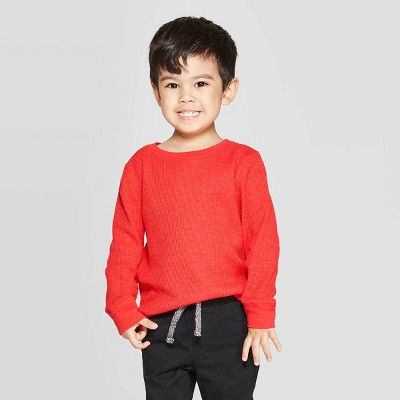 Toddler Boys' Thermal Long Sleeve T-Shirt - Cat & Jack™ Red 2T