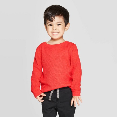 Toddler Boys' Thermal Long Sleeve T-Shirt - Cat & Jack™ Red - image 1 of 3