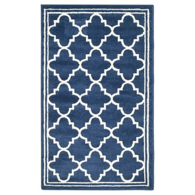 Camembert Rectangle 3' X 5' Indoor/Outdoor Rug - Navy / Beige - Safavieh®