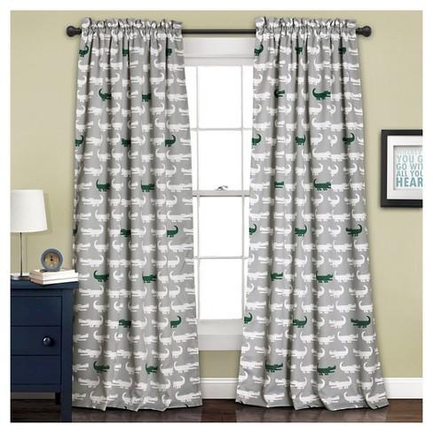 Alligator Room Darkening Window Curtain Set Gray Green 52x84