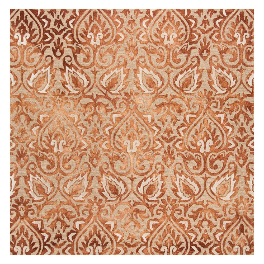 7'X7' Damask Tufted Square Area Rug Copper/Beige (Brown/Beige) - Safavieh