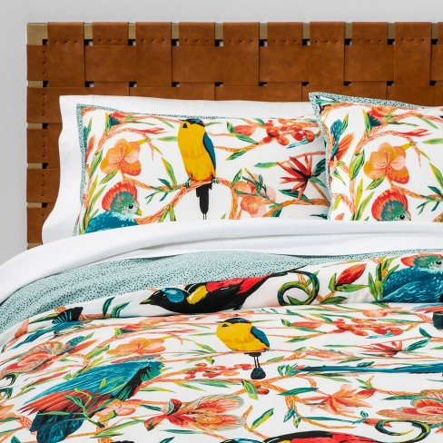 Aviary Print Duvet Cover & Pillow Sham Set Aqua - Opalhouse™ - image 1 of 6