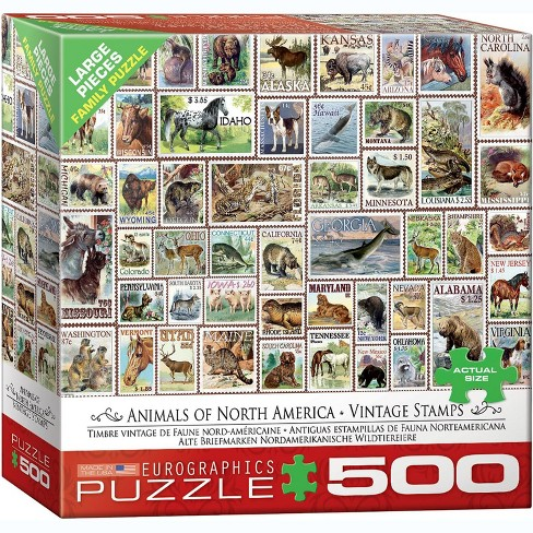 Eurographics Inc. Animals of North America Vintage Stamps 500 Piece Jigsaw Puzzle - image 1 of 4