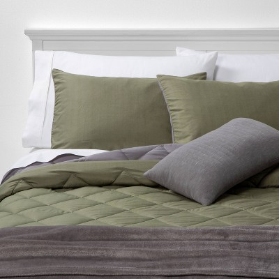 King Solid Microfiber Bed Set Olive - Room Essentials™