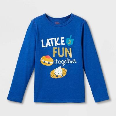 Boys' Adaptive Hanukkah Long Sleeve Graphic T-Shirt - Cat & Jack™ Blue