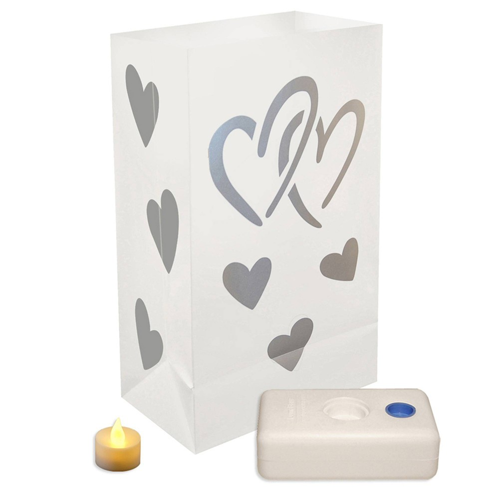 Image of 12ct Hearts Battery Operated Luminaria Kit