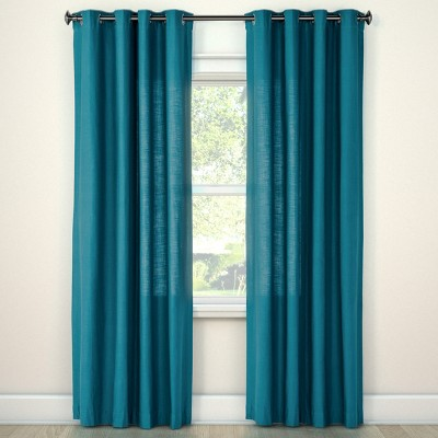 "84""x54"" Natural Solid Light Filtering Curtain Panel Blue - Threshold™"
