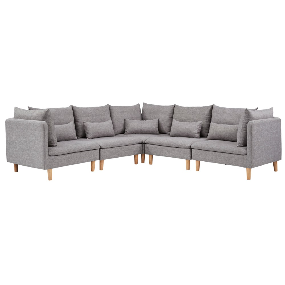 Eloise Mid-Century Modular L - Shaped Sectional Sofa - Gray - Inspire Q