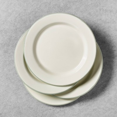 4pk Enamelware Salad Plates Sour Cream with Silver Green Rim - Hearth & Hand™ with Magnolia
