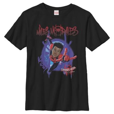 New Disney Store Miles Morales Spiderman Tee T-Shirt Boys Black 5//6,7//8