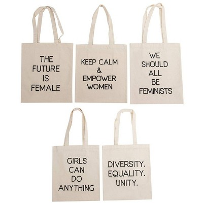 Juvale 5-Pack Assorted Feminist Quotes Tote Bags Cotton Canvas Shopping Bags Gift Bags, White 14x11.9 in