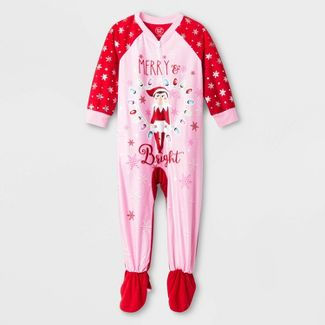 Toddler Girls' Elf on the Shelf Footed Pajama - Red 5T