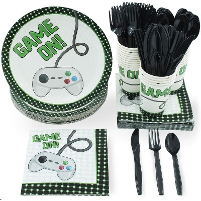 144 Piece Video Game Birthday Party Supplies - Serves 24 Game On Theme for Gamer Night, Boys, Kids, Comes with Paper Plates, Napkins, Cups and Cutlery