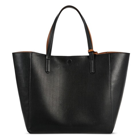 Women s Reversible Faux Leather Tote - A New Day™ Black   Target ef16479b5c