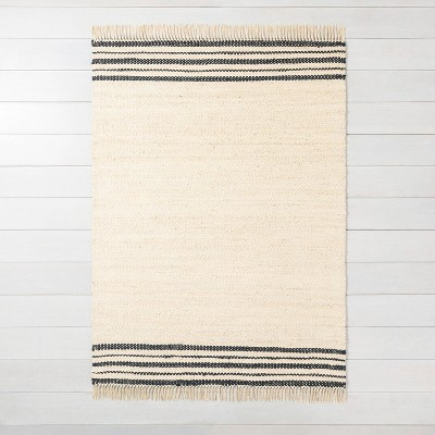 5'x7' Jute Rug Charcoal Stripe - Hearth & Hand™ with Magnolia