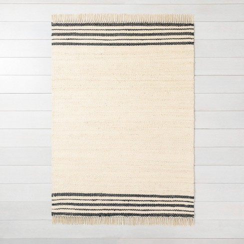 9 X 12 Charcoal Stripe Jute Rug