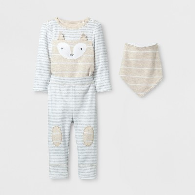 Baby 3pc Fox Bodysuit, Pants and Bib Set Cloud Island™ - Oatmeal/Gray 3-6M