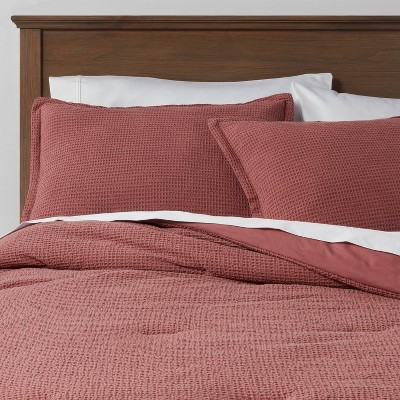 Full/Queen Washed Waffle Weave Comforter & Sham Set Mauve - Threshold™