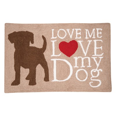 """1'10""""x2'10"""" Rectangle Dogs Accent Rug Brown - C&F Home"""