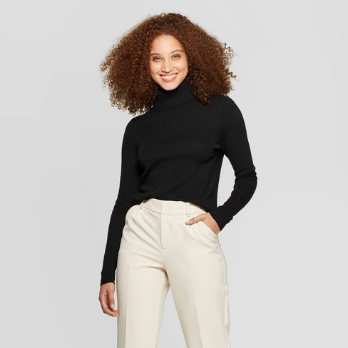 Women's Long Sleeve Rib Turtleneck Sweater - A New Day™ - image 1 of 3