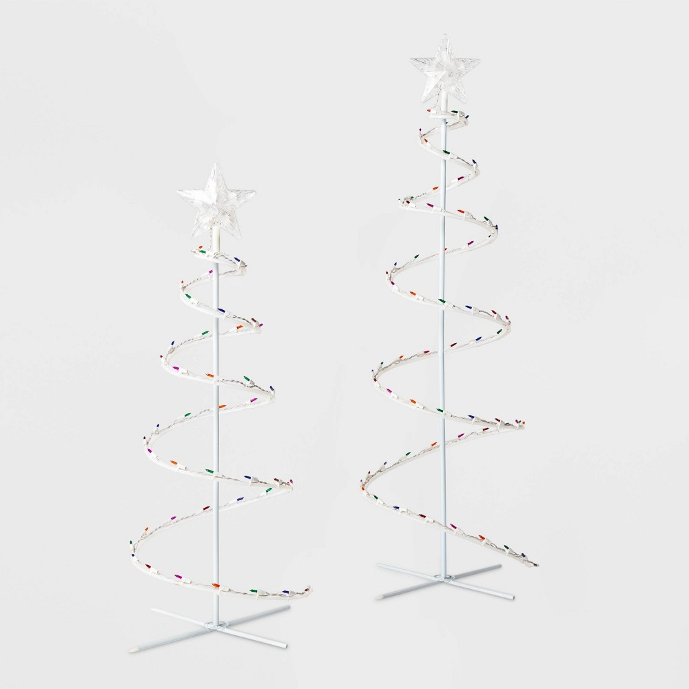 Image of 2ct 4' and 3' Christmas Incandescent Spiral Trees Novelty Sculpture Multicolored - Wondershop