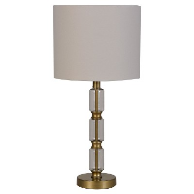 Glass Stacked Cylinder with Brass Detail Table Lamp Clear - Threshold™