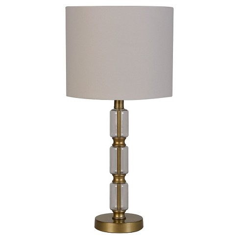 Glass Stacked Cylinder with Brass Detail Table Lamp Clear - Threshold™ - image 1 of 1