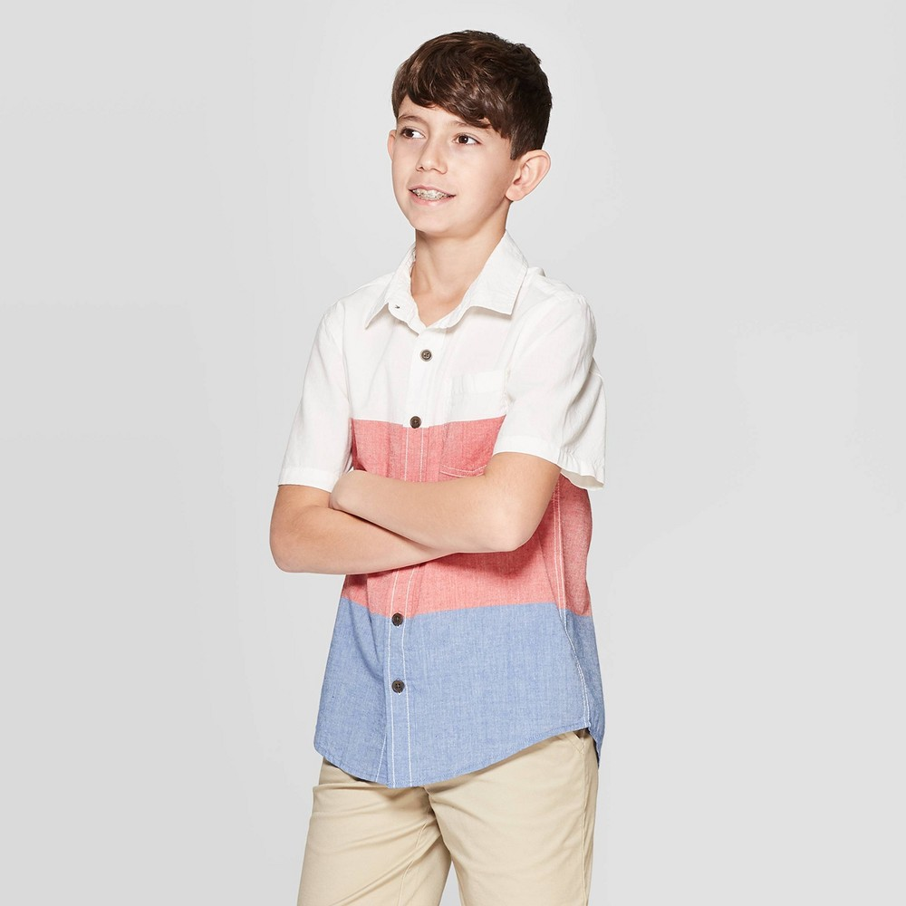 b196854ad Boys Short Sleeve Button Down Shirt Cat Jack Red L Husky