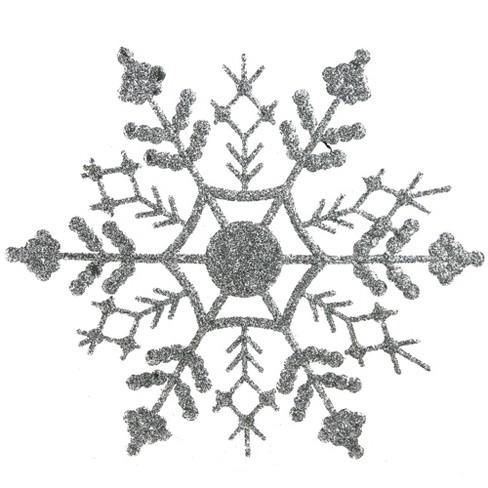 "Northlight 24ct Splendor Glitter Snowflake Christmas Ornament Set 3.75"" - Silver - image 1 of 2"