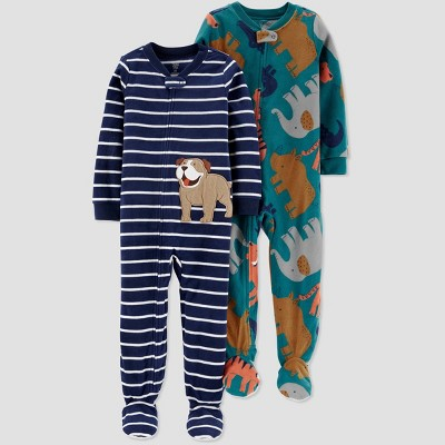 Baby Boys' 2pk Stipped Dog & Elephant Fleece Footed Pajama - Just One You® made by carter's Blue/Teal 9M