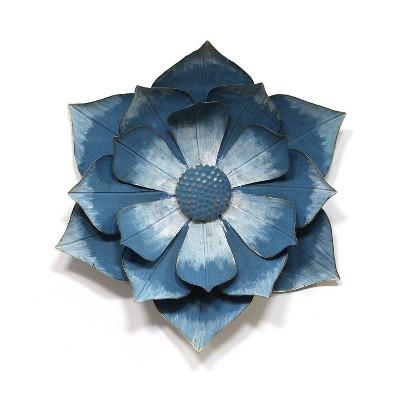 "17.32 x 19.69"" Ipomoea Metal Flower Blue - Stratton Home Décor"