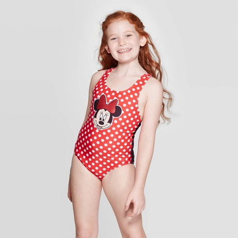Girls' Minnie Mouse One Piece Swim Suit - Red - image 1 of 3