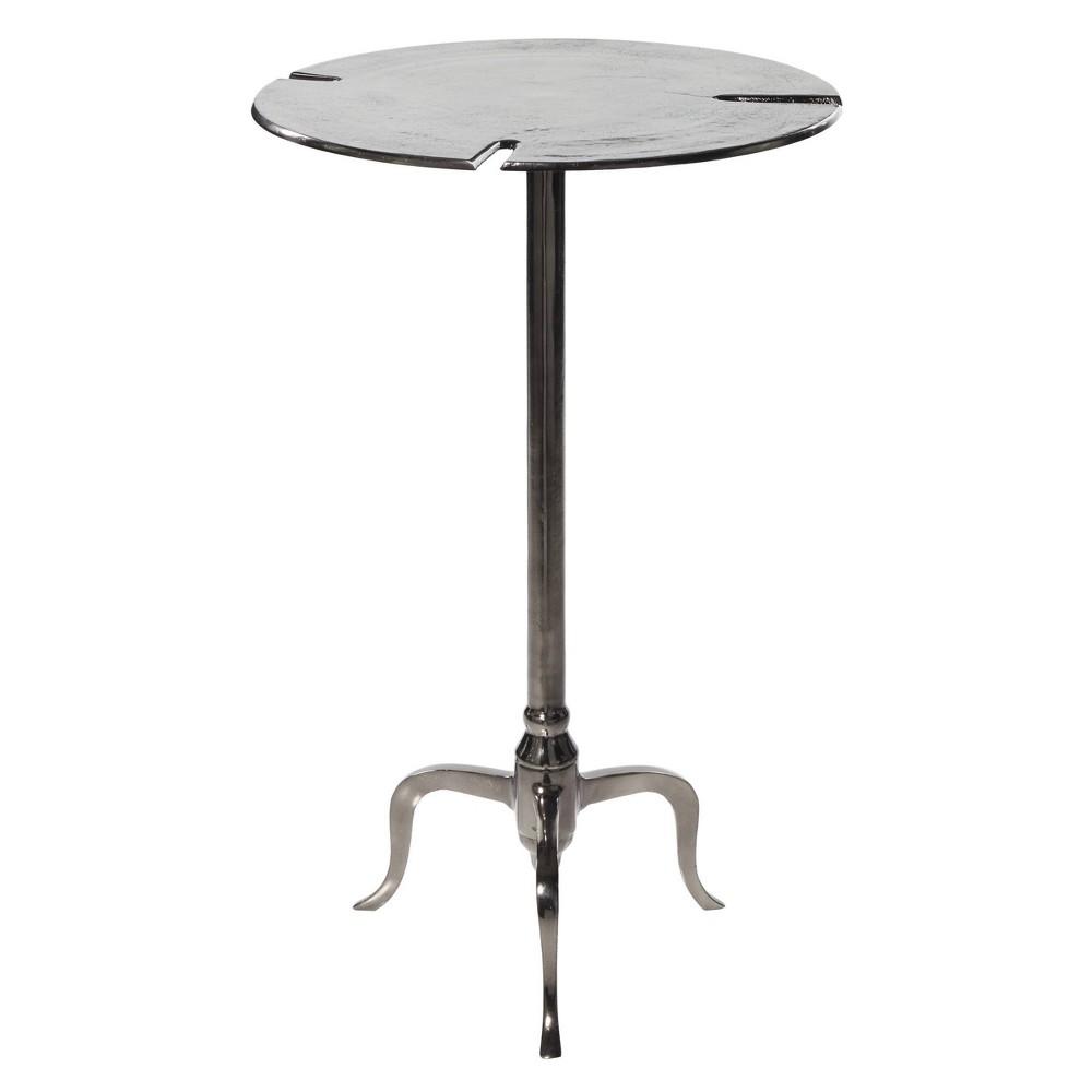 Side Table Round Aluminum Gunmetal Finish Olivia 38 May