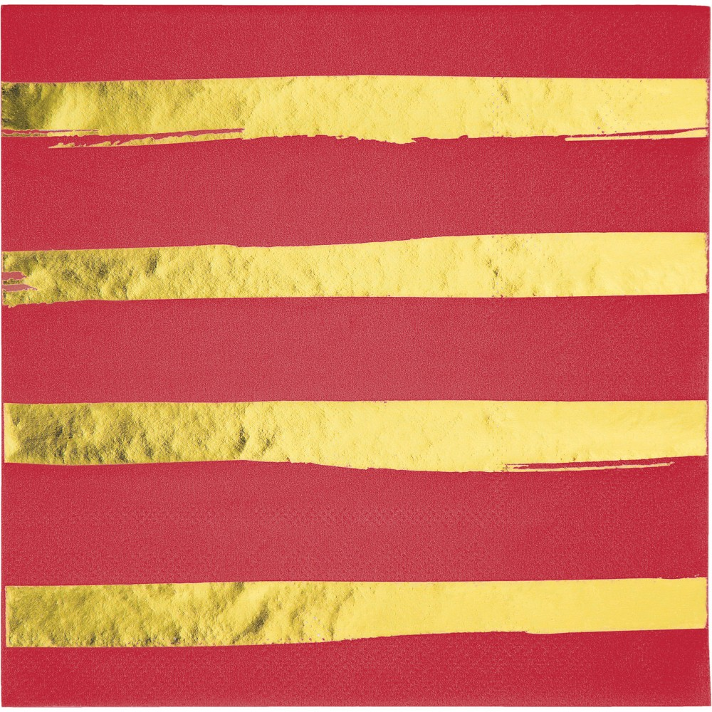 Image of 16ct Creative Converting Classic Red and Gold Foil Striped Napkins, Multi-Colored