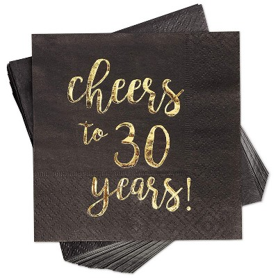 "Blue Panda 100-Pack ""Cheers to 30 Years!"" Gold Foil Paper Disposable Cocktail Paper Napkins 5 x 5 Inches"