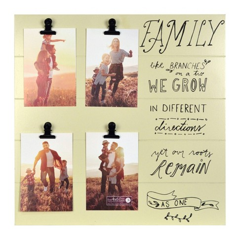 """16"""" x 16"""" Four Opening Family is Like Branches Clip Collage Photo Display Yellow - New View - image 1 of 2"""