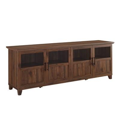 "Kimber 4 Door Glass Panel Storage TV Stand for TVs up to 80"" - Saracina Home"