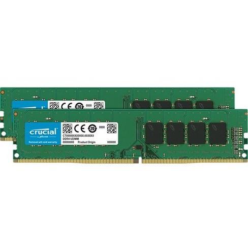 Crucial 32GB Kit (2 x 16GB) DDR4-2666 DIMM - 32 GB (2 x 16 GB) - DDR4-2666/PC4-21300 DDR4 SDRAM - CL19 - 1.20 V - Non-ECC - Unbuffered - 288-pin - image 1 of 1