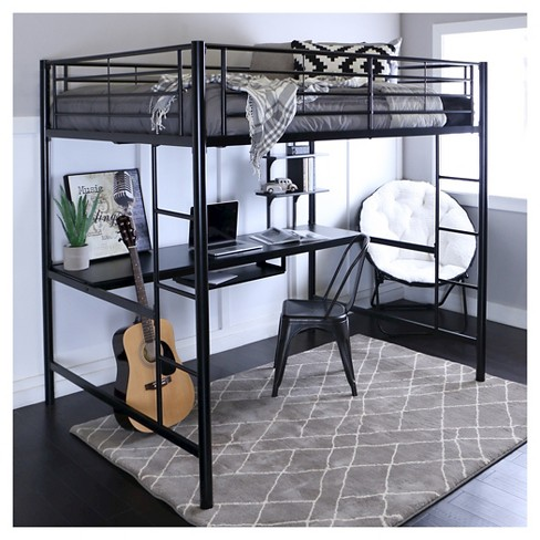 Full Size Loft Bed.Premium Metal Full Size Loft Bed With Wood Workstation Black Saracina Home