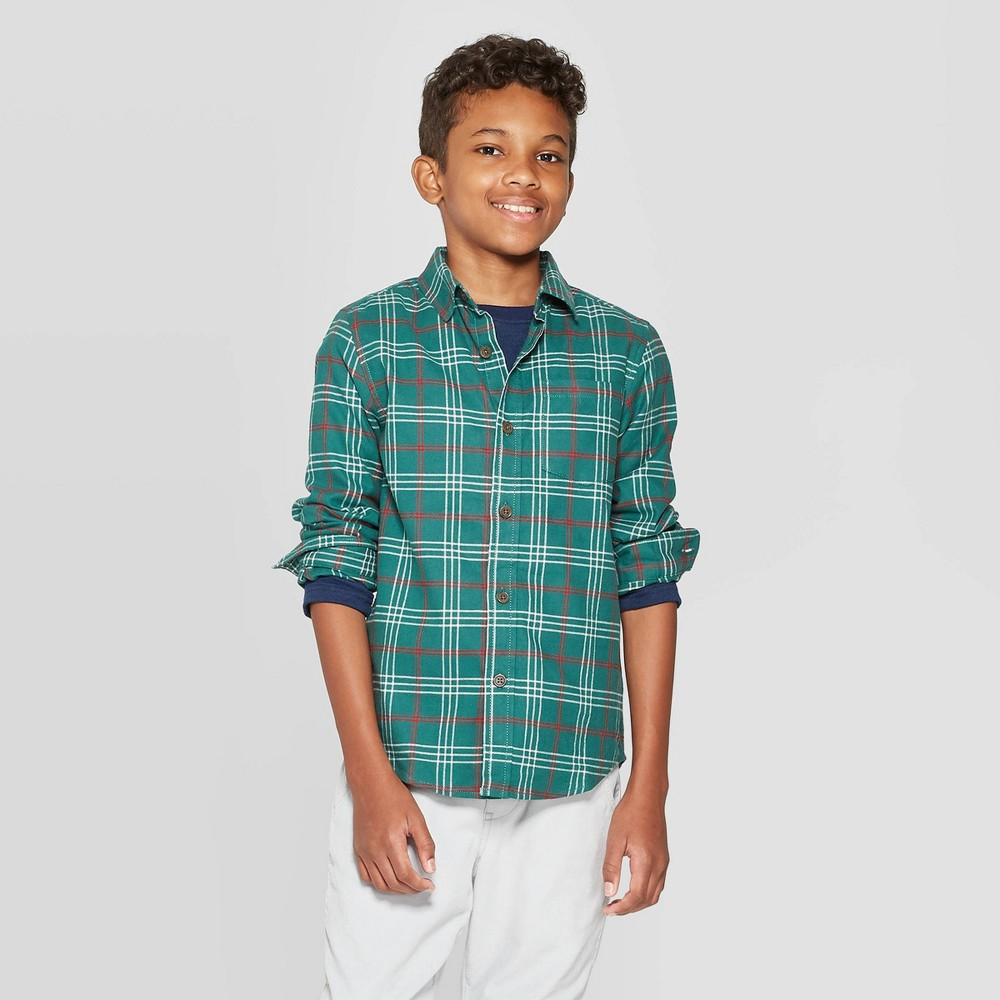 Image of Boys' Check Long Sleeve Button-Down Shirt - Cat & Jack Green L, Boy's, Size: Large