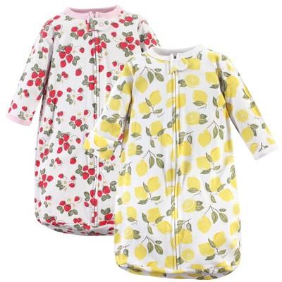 Hudson Baby Infant Girl Cotton Long-Sleeve Wearable Sleeping Bag, Sack, Blanket, Strawberry Lemon